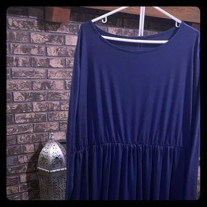 Navy Blue Cotton Dress - 4x (26w) - Long Maxi NWOT